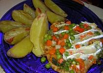 Kuřecí řízky se zeleninou a hermelínem
