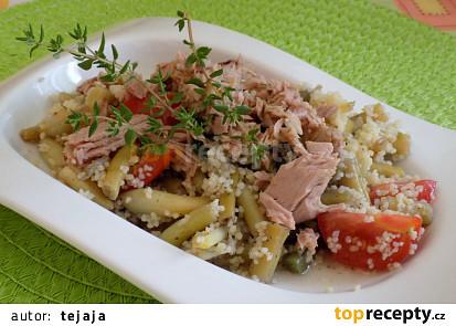 Kuskusový salát s fazolkami a tuňákem