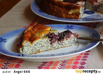 Tvarohovo - makový koláč se švestkami (bez mouky)