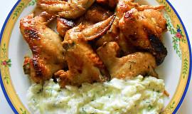 Marinovaná pečená křidélka a tzatziky  (Dělená strava podle LK - Zvířata)