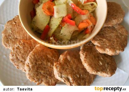 Vepřenky v troubě a cuketový salát   (Dělená strava podle LK - zvířata)