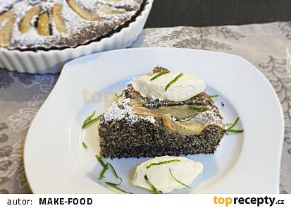 Makový koláč s hruškami a limetkovým krémem