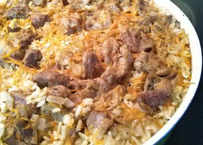 Vepřové s rýží v jednom pekáči.