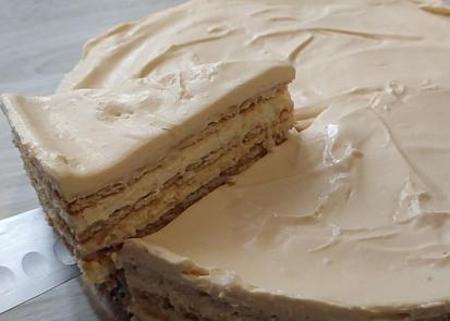 Nepečený salkový koláč so sušienkami