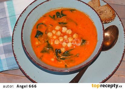 Rajčatová polévka s cizrnu, bulgurem a špenátem