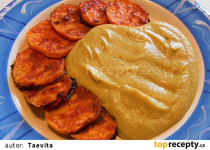 Brokolicové pyré s pečenými batáty  (Dělená strava podle LK - Kytičky + zelenina)