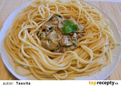 Špagety s bazalkovými houbami  (Dělená strava podle LK - Kytičky + zelenina)