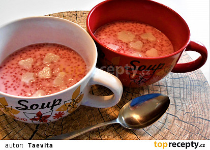 Kokosový taro dezert s tapiokovými perlami  (Dělená strava podle LK - Kytičky)