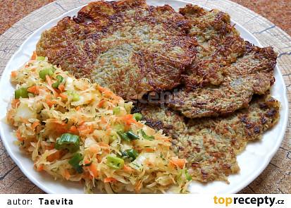 Bramboráky s koprovým salátem z kysaného zelí  (Dělená strava podle LK - Kytičky + zelenina)