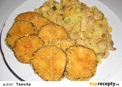 Smažený lilek a lehký bramborový salát  (Dělená strava podle LK - Kytičky + zelenina)