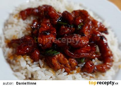 Kuře na mongolský způsob s rýží