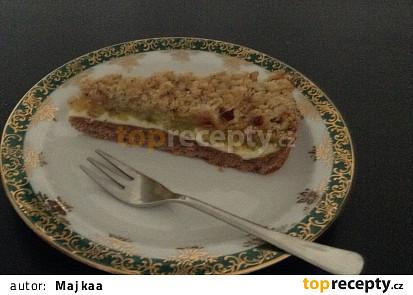 Rebarborový koláč s tvarohem a drobenkou