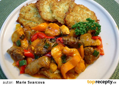 Pikantní kuřecí směs s játry a paprikami