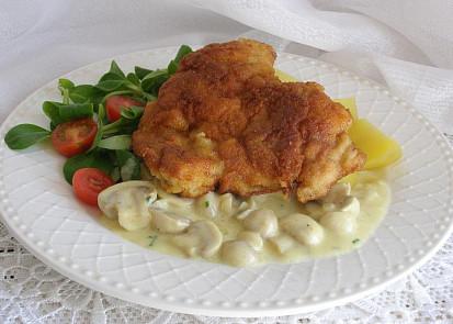 Smažené kuře s žampionovou omáčkou