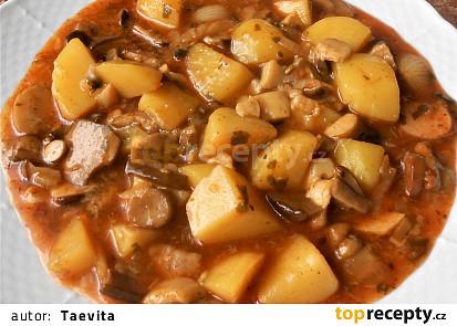 Houbový guláš s brambory (Dělená strava podle LK - Kytičky + zelenina)